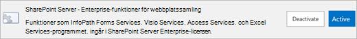 Aktivera SharePoint Server Enterprise-webbplatssamling