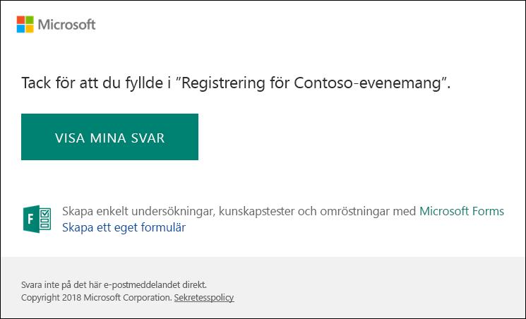 E-bekräftelsemeddelande och länka till svar i Microsoft Forms