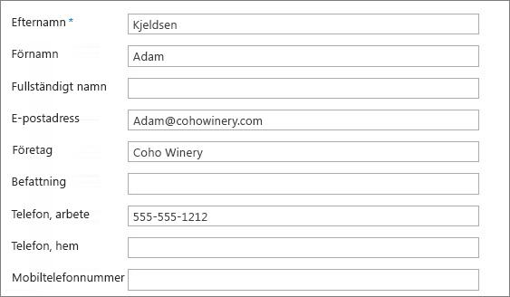 Ange information i kontaktformuläret.