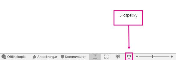 visar var bildspelsvy-knappen finns i powerpoint