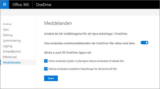 Fliken aviseringar i administrationscentret i OneDrive