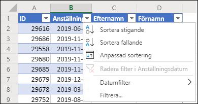 Använd Excels tabellfilter för att sortera i stigande eller fallande ordning