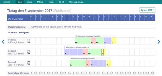 Skärmbild: Visa StaffHub-aktiviteter i en webbläsare