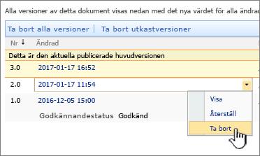 Listrutan Versionshantering för en fil med alternativet Ta bort markerat