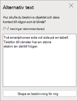 Dialog rutan alternativ text i PowerPoint Online.