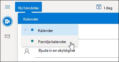 En skärmbild av listrutan kalender markeringen