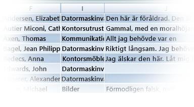excel-tabell med importerade data