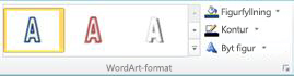 Stilgruppen WordArt i Publisher 2010