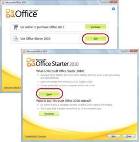 Använda Office Starter för första gången