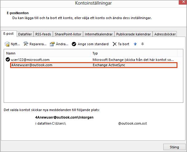 Kontoinställningar i Outlook, e-postkonton