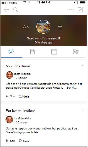 Konversationsvyn för grupper i Outlook-mobilappen