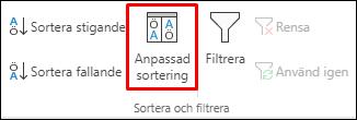 Anpassade sorteringsalternativ för Excel från fliken Data
