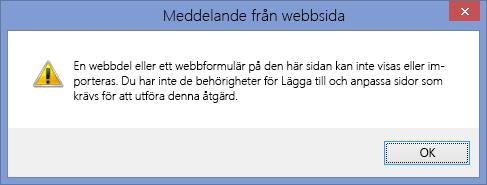 Felmeddelande som visas när skriptkörning har inaktiverats på en webbplats eller webbplatssamling
