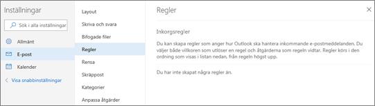 En skärmbild visar regelsidan i e-post i inställningar för Outlook.com.