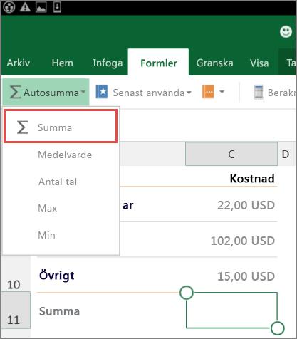 Åtkomstmenyn i menyfliksområdet i Excel för Android