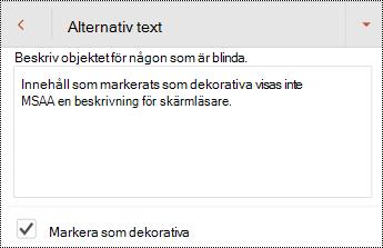 Markera som dekorativt markerad i dialog rutan alternativ text i PowerPoint för Android.
