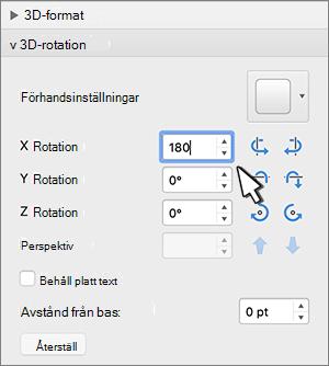 3D-rotation med X-rotation markerad