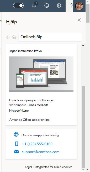 Skärm bild som visar en organisations supportinformation