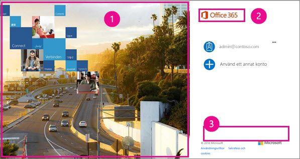 Områden på inloggningssidan i Office 365 du kan anpassa.