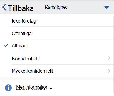 Skärmbild av känslighetsetiketter i Office för iOS