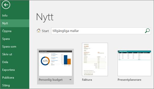 Skärmbild av användargränssnittet i Excel med sökruta, sökning efter tillgängliga mallar och sökresultat.
