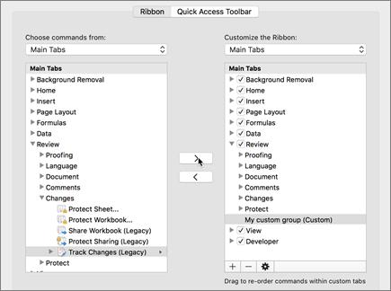 Klicka på spåra ändringar (äldre) och klicka sedan på > för att flytta alternativet under fliken Granska