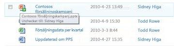 Knappbeskrivning som visas nedanför ikonen för en utcheckad fil. Där ser användaren filnamnet och vem som har checkat ut filen.