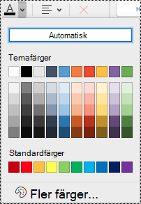 Den nedrullningsbara menyn för teckenfärg i OneNote för Mac.