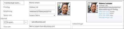 Du kan lägga till eller ändra en bild för en kontakt.