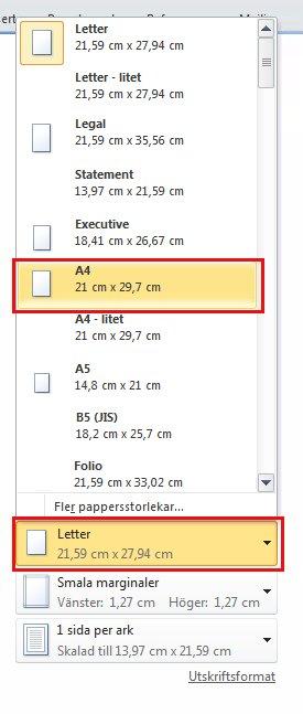 Under Pappersstorlek klickar du på pilen till höger och väljer A4
