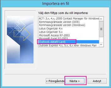 Välj PST-import