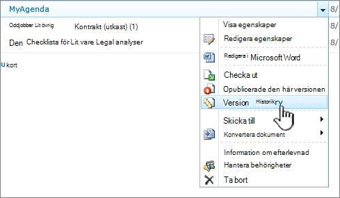 Listruta från dokument med Versionshistorik markerat