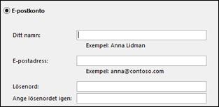 Ange din e-postadress och ditt lösenord för Exchange