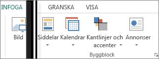 Skärmbild av gruppen Byggblock på fliken Infoga i Publisher.