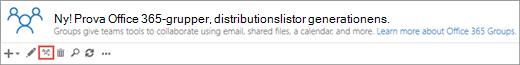 Klicka eller tryck på ikonen Uppgradera till Office 365-grupper