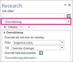 Översättningsalternativ i fönstret Referensinformation