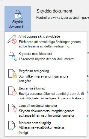 Skydda dokument-menyn i Word för Office 365