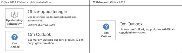 Grafik som visar hur du kan se om Office 2013-installationen är en klicka-och-kör-installation eller en MSI-baserad installation