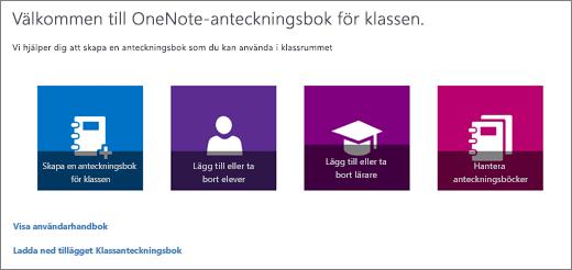 OneNote-guiden för Anteckningsbok för klassen med ikoner för att Skapa anteckningsbok för klassen, Lägg till eller ta bort elever, Lägg till eller ta bort lärare och Hantera anteckningsböcker.