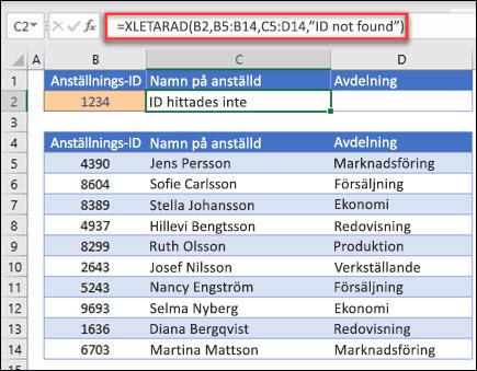 """Exempel på funktionen XLETAUPP som används för att returnera ett namn på en anställd och en avdelning baserat på anställnings-ID med argumentet om_inte_hittas. Formeln är = XLETAUPP (B2,B5:B14,C5:D14,0,1,""""ingen anställd hittades"""")"""