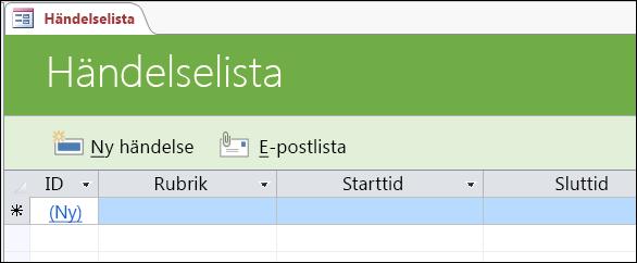 Händelselistformulär i händelsedatabasmallen i Access
