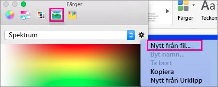 Välj bildikonen för att välja en färg från en fil