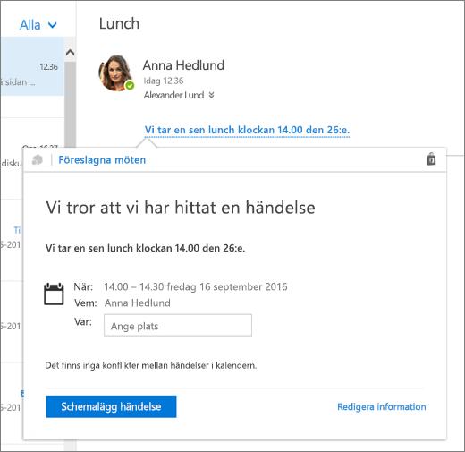 Skärmbild av ett e-postmeddelande med text om ett möte och kortet Föreslagna möten med mötesinformation och alternativ för att schemalägga evenemanget och redigera det.