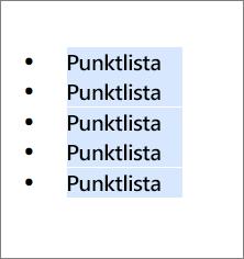 Exempel på punktlista med runda svarta cirklar som punkter.