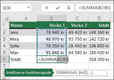 Cell D6 visar summaformeln för Autosumma: =SUMMA(B2:B5)