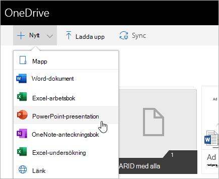 Skapa filer i OneDrive för företag