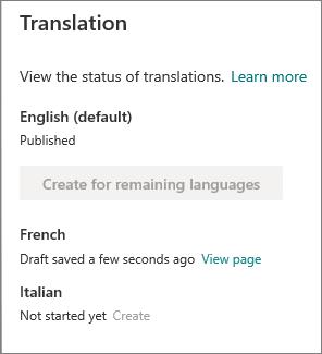 Översättnings status