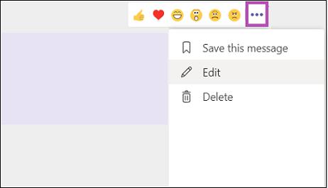 Redigera eller ta bort ett meddelande i Teams