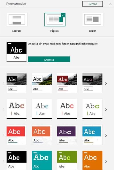 Design och format i Sway