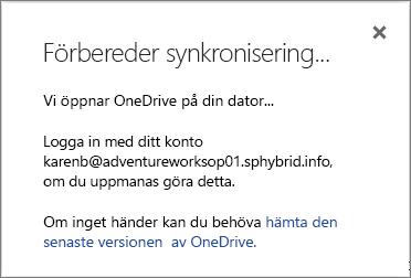 Skärmbild av dialogrutan Förbereder synkronisering vid konfigurering av OneDrive för företag för synkronisering